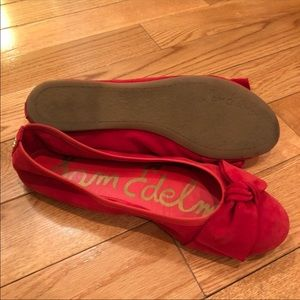 Crimson red flats emma bow suede leather